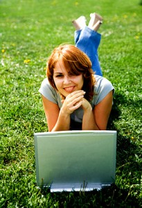 Girl, Laptop on grass