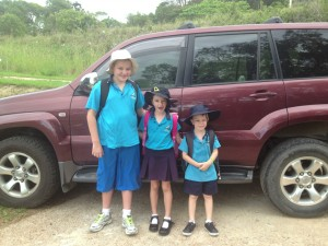 Riley Hollie Marcus going to school. Riley is in year 5 Hollie is in Year 2 and Marcus started Kindy this year.
