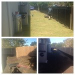 The three phases of install - dirt - turf slabs - LAWN!